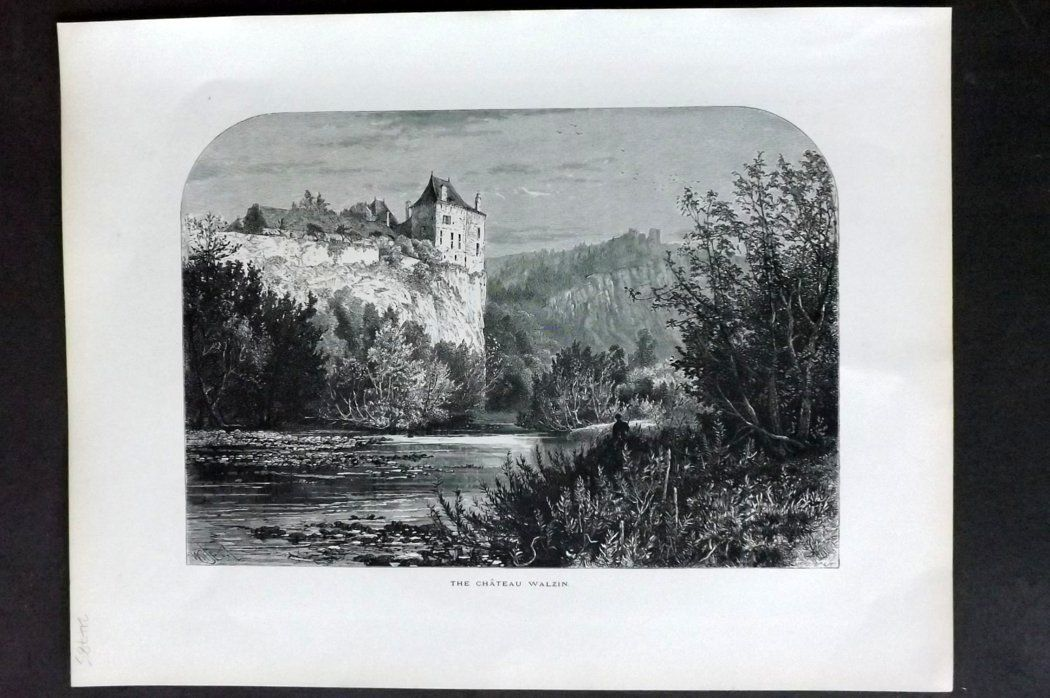 Picturesque Europe 1870s Antique Print. Chateau Walzin, Belgium