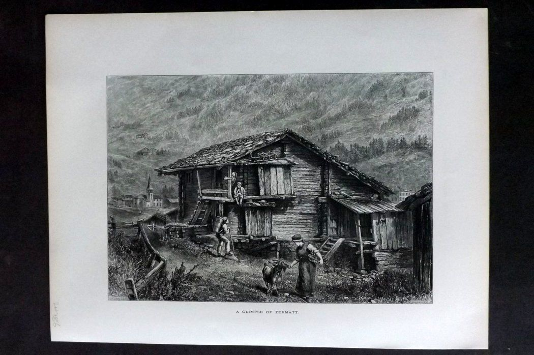 Picturesque Europe 1870s Antique Print. A Glimse of Zermatt, Switzerland