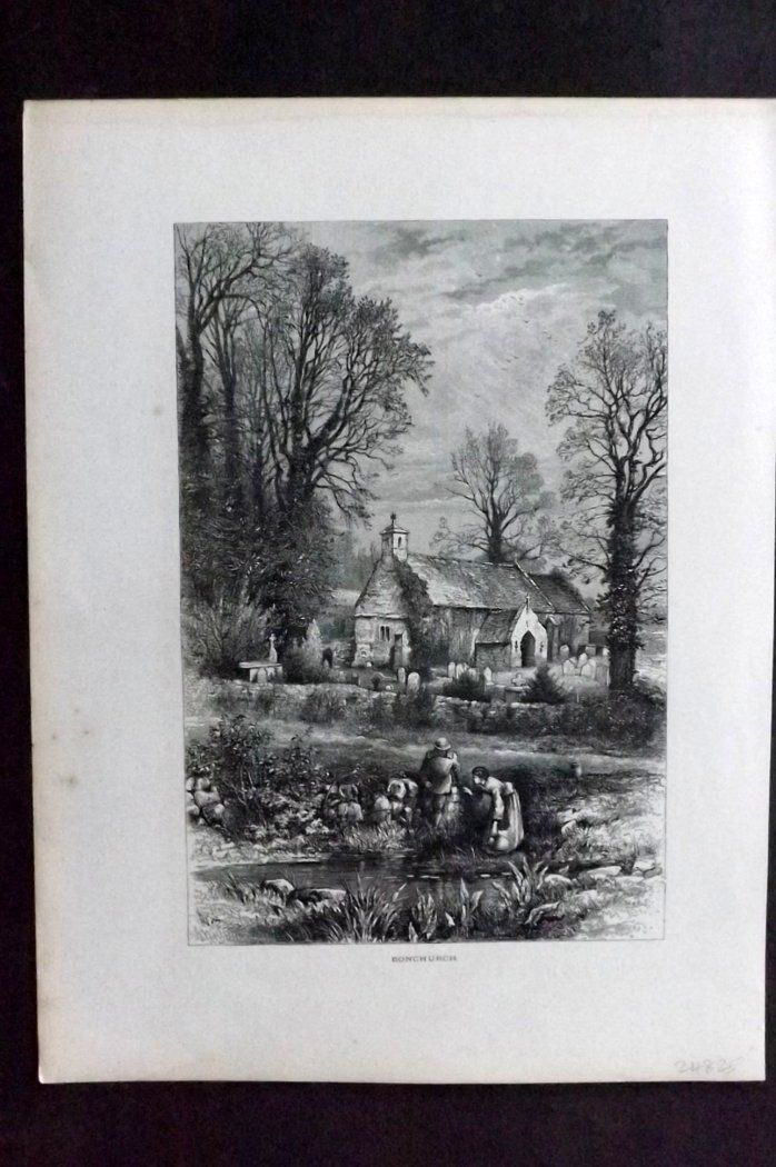 Picturesque Europe 1870s Antique Print. Bonchurch, Isle of Wight