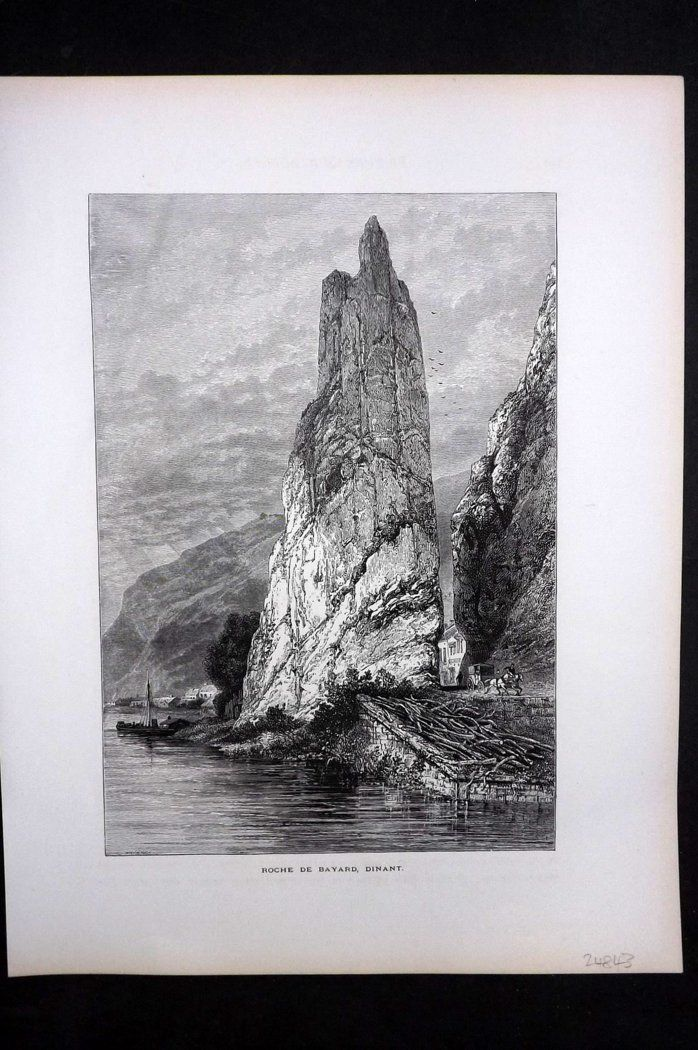 Picturesque Europe 1870s Antique Print. Roche de Bayard, Dinant, Belgium