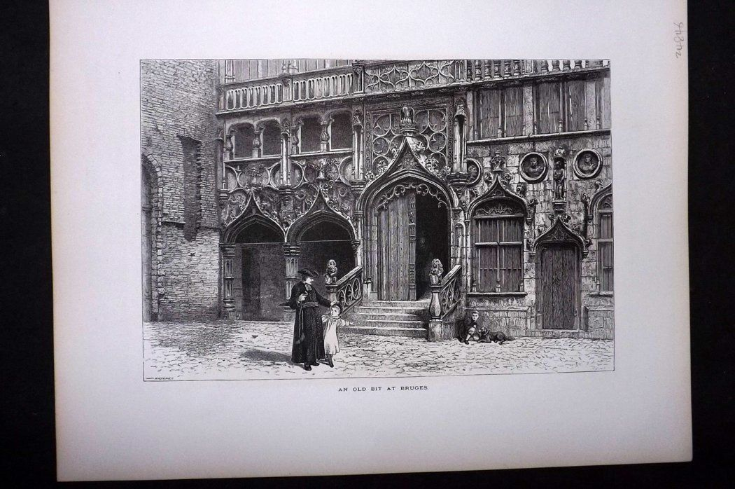 Picturesque Europe 1870s Antique Print. An Old bit at Bruges, Belgium