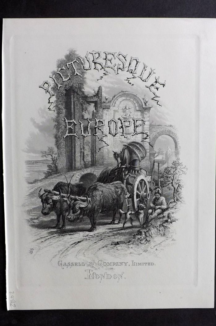 Picturesque Europe 1870s Antique Print. On the Campagna, Italy. Title Page