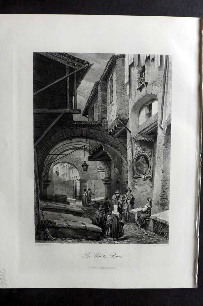 Picturesque Europe 1870s Antique Print. The Ghetto, Rome, Italy