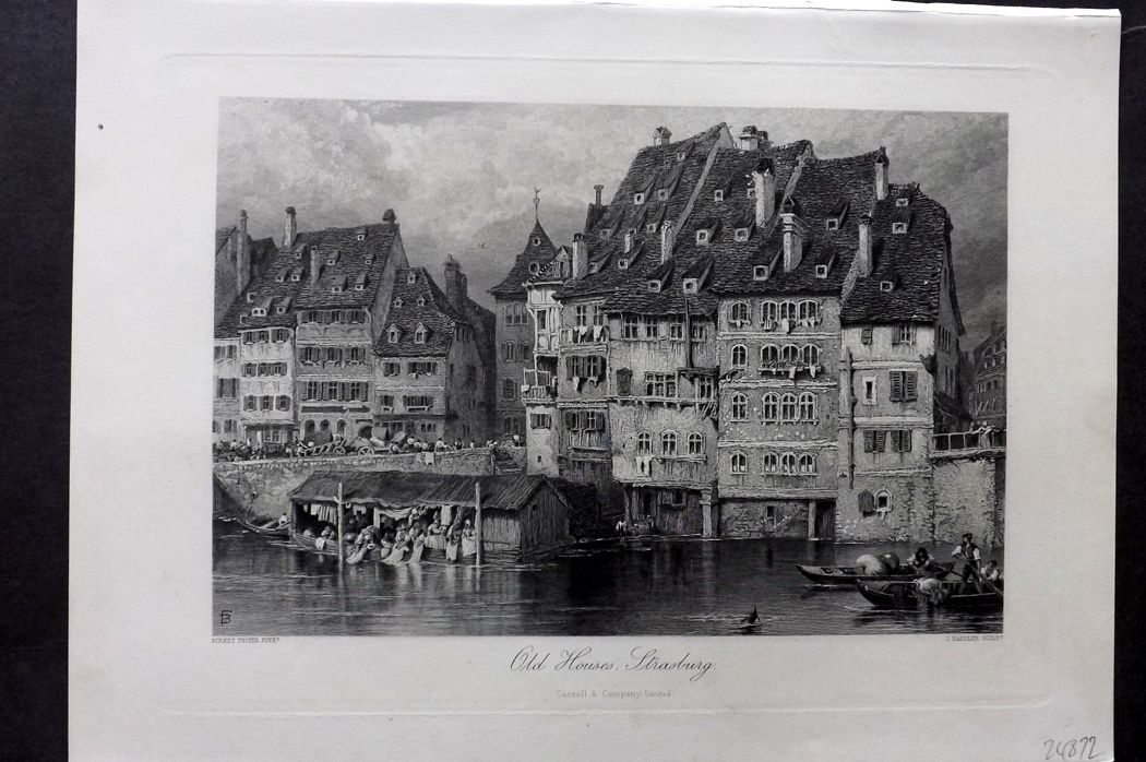 Picturesque Europe 1870s Antique Print. Old Houses, Strasburg. France