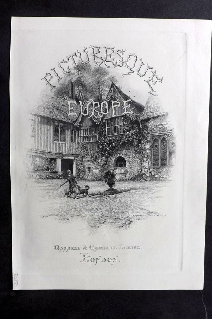 Picturesque Europe 1870s Antique Print. Ingtham Mote House, Kent. Title Page