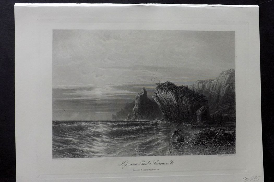 Picturesque Europe 1870s Antique Print. Kynance Rocks, Cornwall