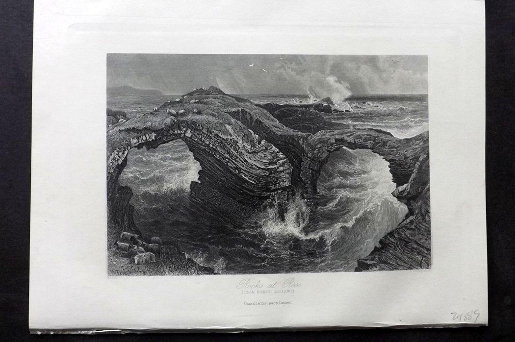 Picturesque Europe 1870s Antique Print. Rocks at Ross, Kilkee, Ireland