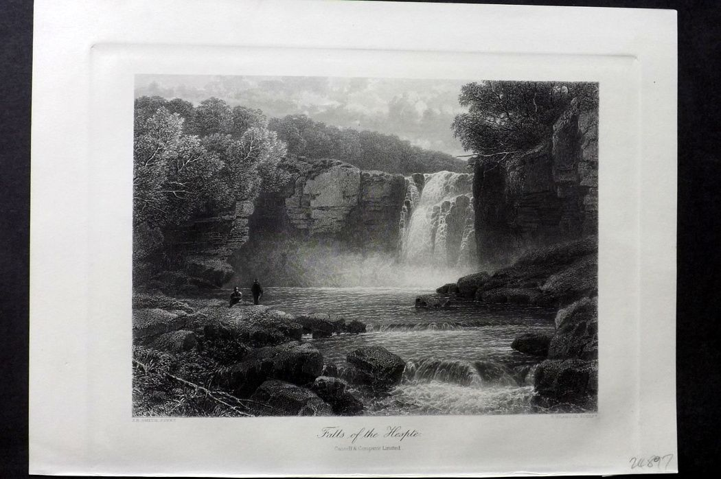 Picturesque Europe 1870s Antique Print. Falls of the Hespte, Wales