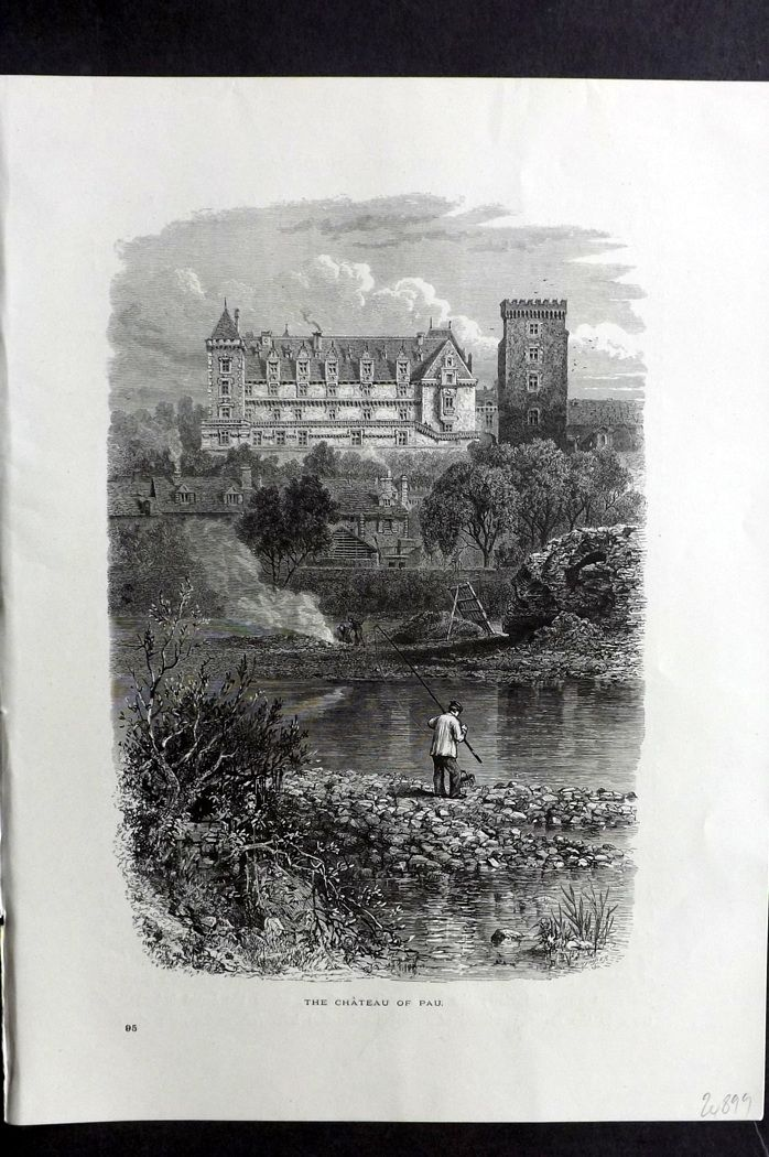 Picturesque Europe 1870s Antique Print. Chateau of Pau, France