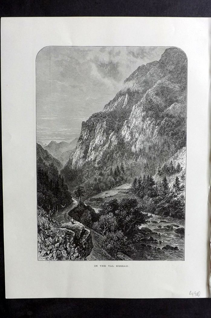 Picturesque Europe 1870s Antique Print. In the Val d'Ossau, France