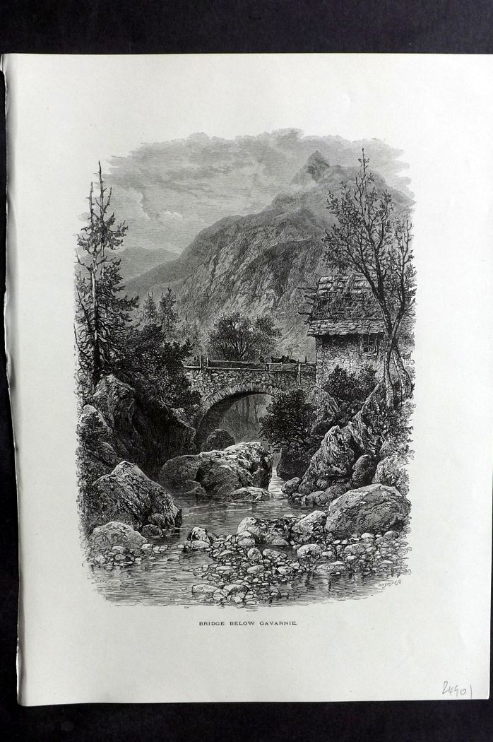 Picturesque Europe 1870s Antique Print. Bridge Below Gavarnie, France