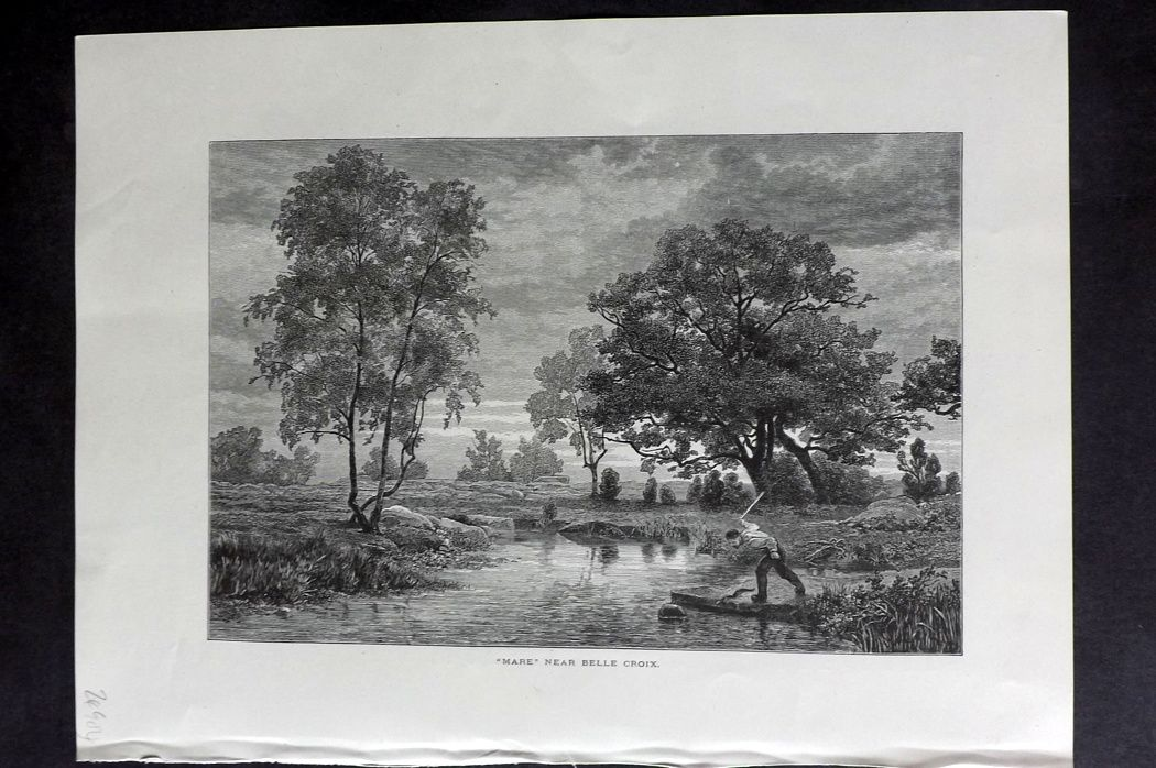 "Picturesque Europe 1870s Antique Print. ""Mare"" near Belle Croix, France"