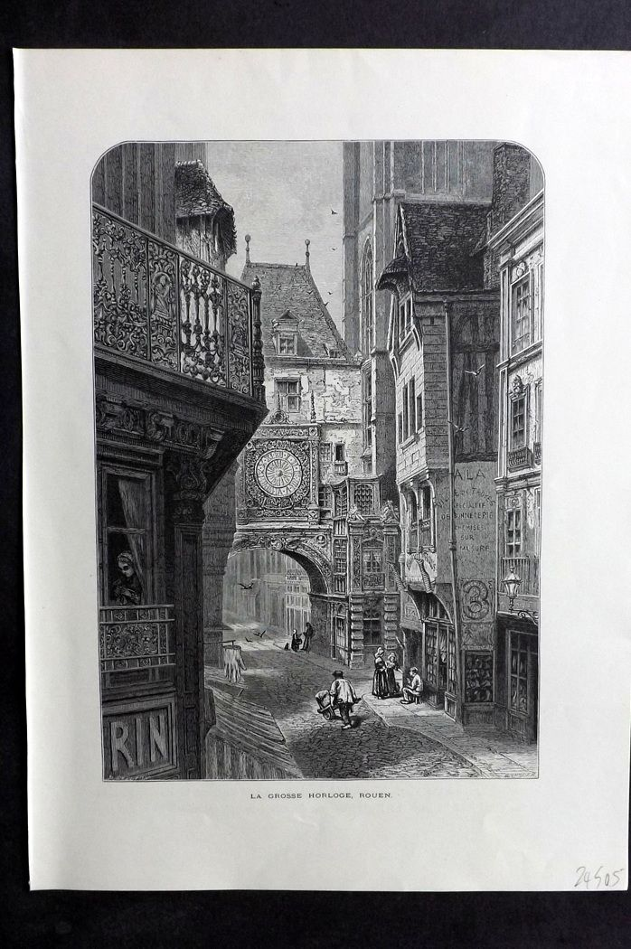 Picturesque Europe 1870s Antique Print. La Grosse Horloge, Rouen, France