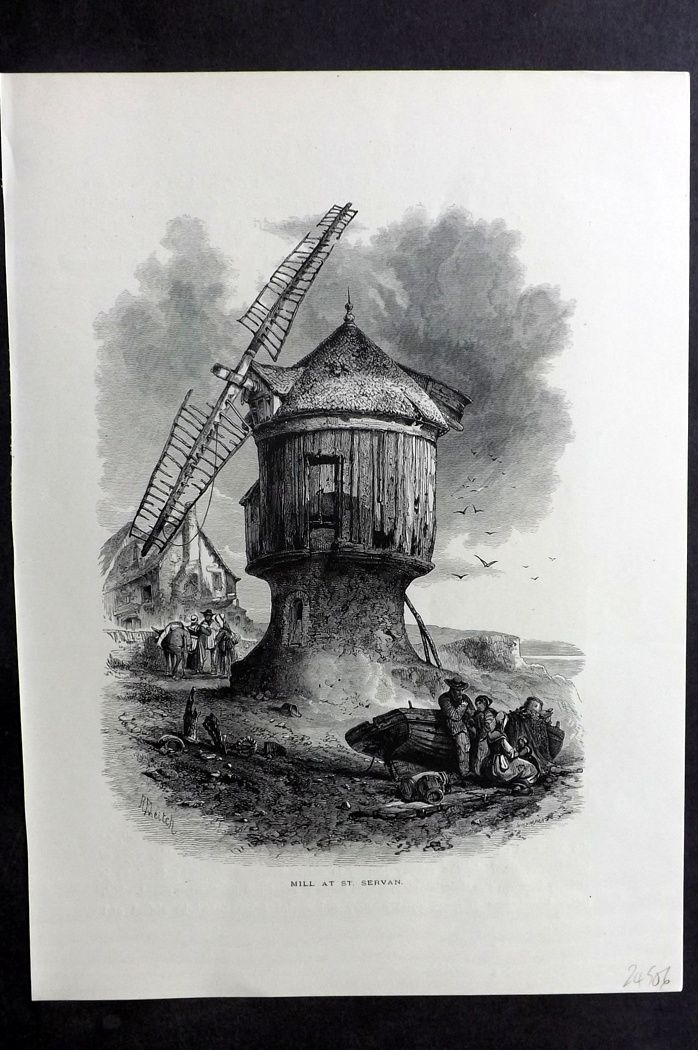 Picturesque Europe 1870s Antique Print. Mill at St. Servan, France