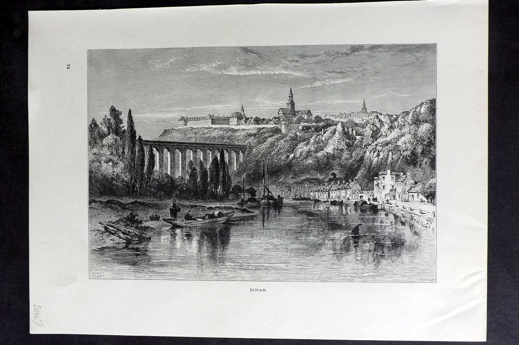 Picturesque Europe 1870s Antique Print. Dinan, France