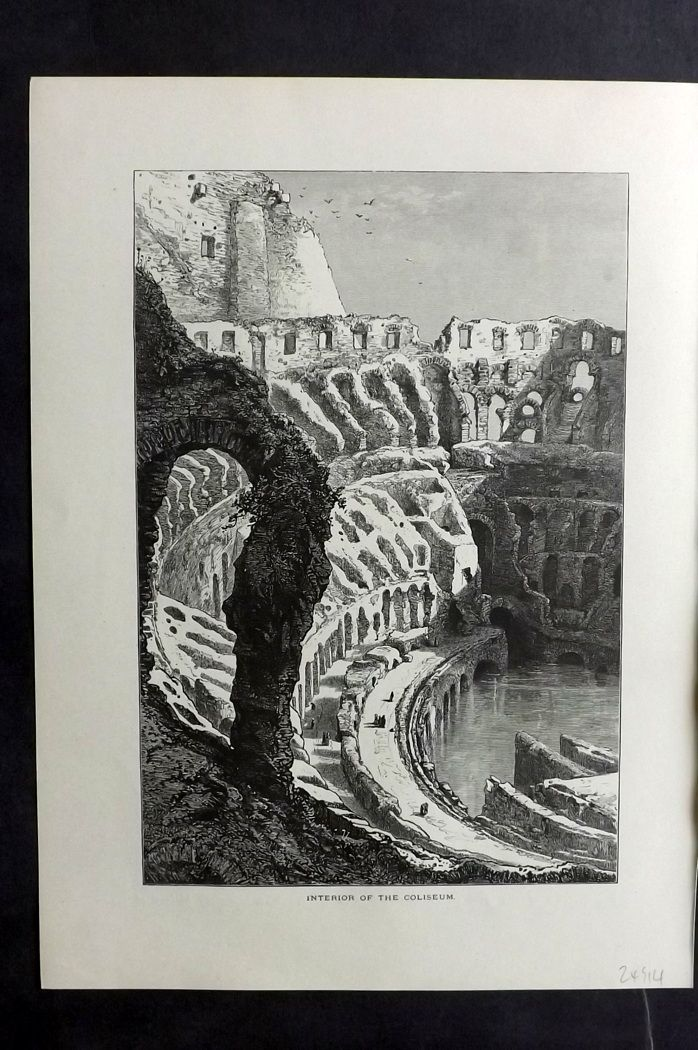 Picturesque Europe 1870s Antique Print. Interior of the Colosseum, Rome Italy