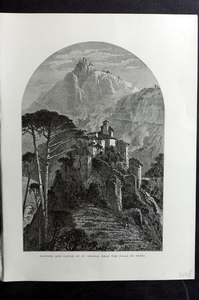 Picturesque Europe 1870s Print. Papigno and Castle of St. Angelo, Terni, Italy