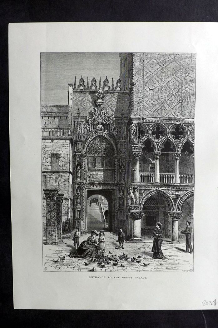 Picturesque Europe 1870s Print. Entrance to the Doge's Palace, Venice Italy