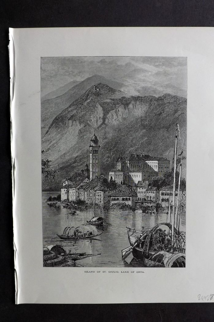 Picturesque Europe 1870s Antique Print. Island of St. Giulio, Lake of Orta, Italy