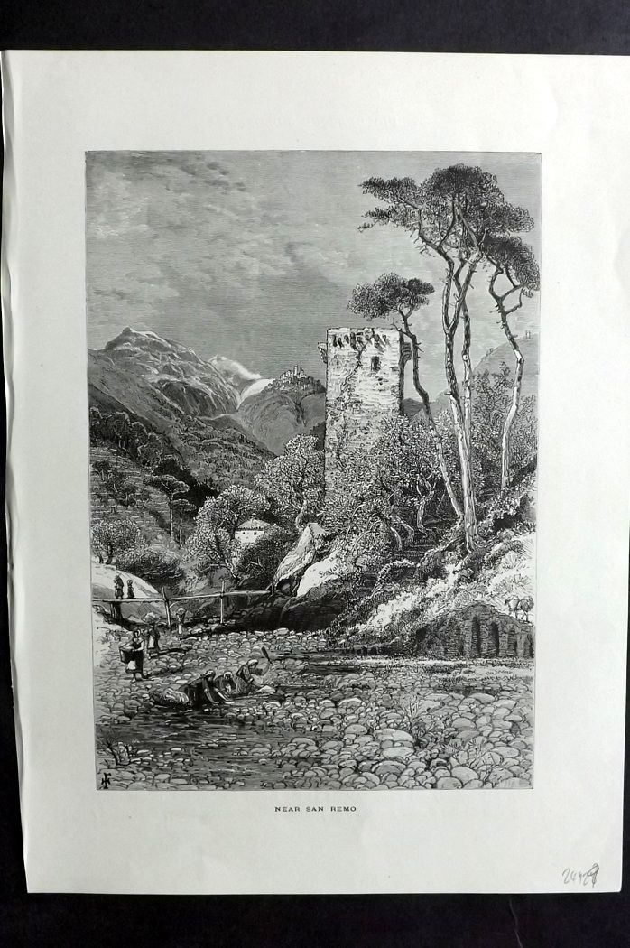 Picturesque Europe 1870s Antique Print. Near San Remo, Italy