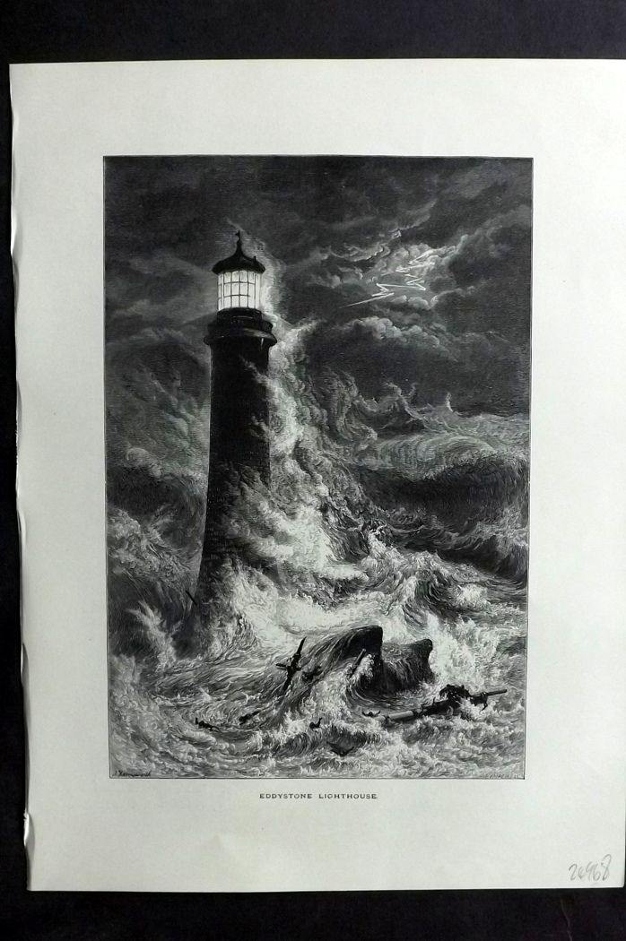 Picturesque Europe 1870s Antique Print. Eddystone Lighthouse