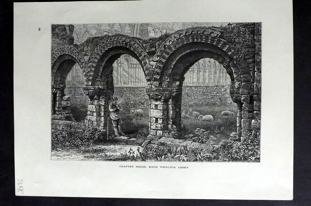 Picturesque Europe 1870s Antique Print. Chapter House, Much Wenlock Abbey