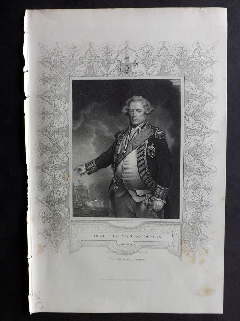 Tallis (Pub) 1854 Antique Portrait Print. Adam, First Viscount Duncan.
