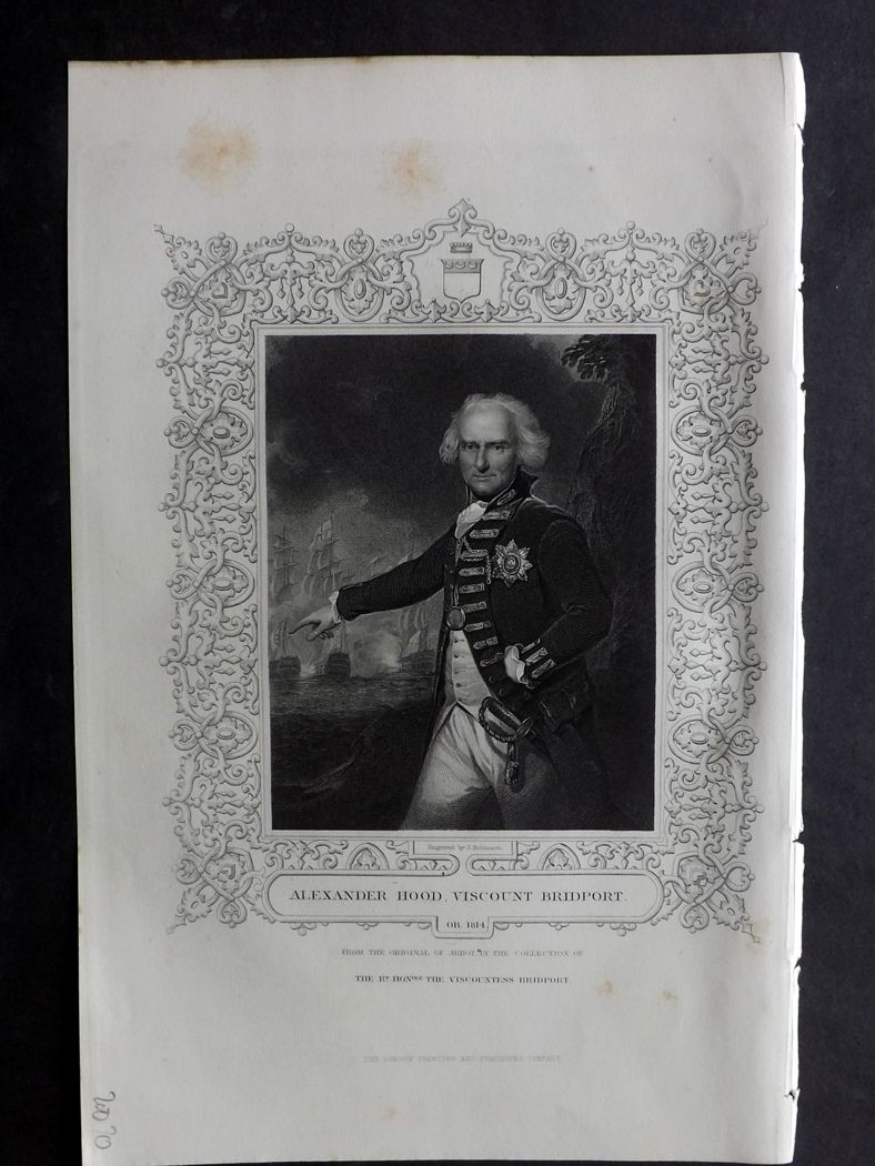 Tallis (Pub) 1854 Antique Portrait Print. Alexander Hood, Viscount Bridport.