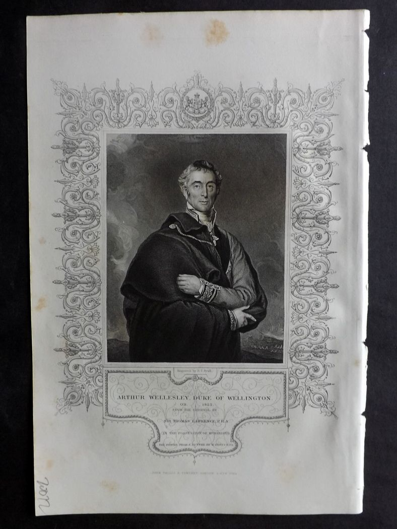 Tallis (Pub) 1854 Antique Portrait Print. Arthur Wellesley, Duke of Wellington.