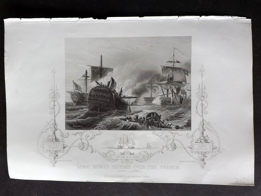 Tallis (Pub) 1854 Antique Naval Print. Lord Howe's Victory over the French.