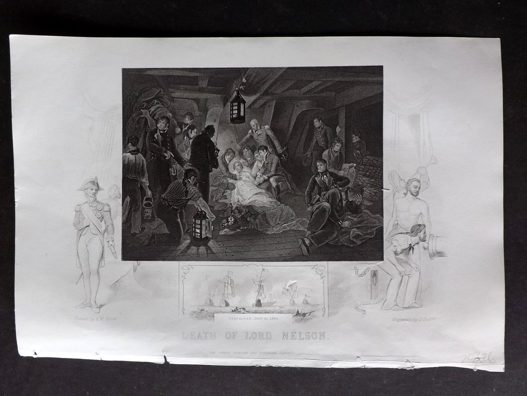 Tallis (Pub) 1854 Antique Military Print. Death of Lord Nelson.