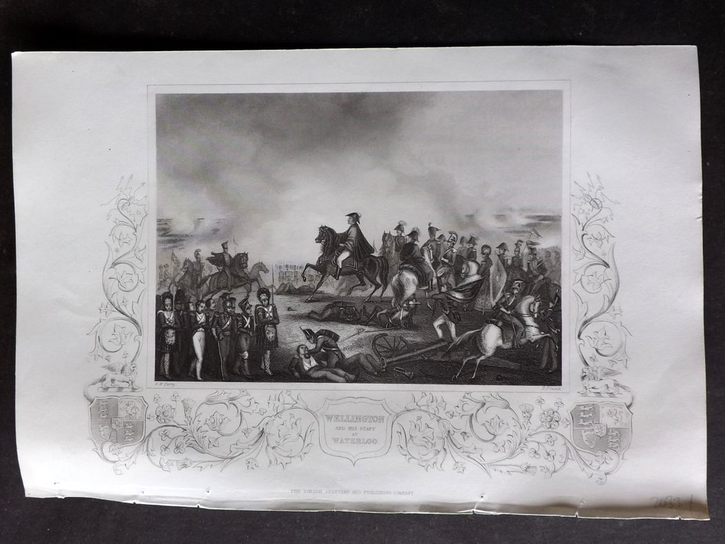 Tallis (Pub) 1854 Antique Military Print. Wellington and his Staff at Waterloo.