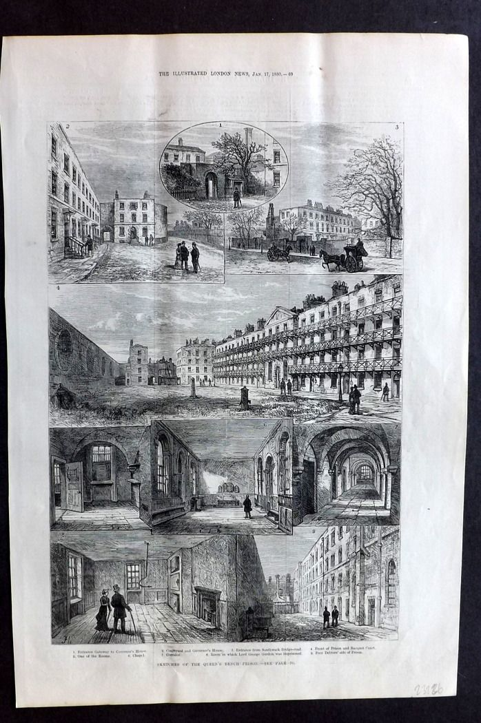 ILN 1880 Antique Print. Sketches of the Queen's Bench Prison, Southwark, London