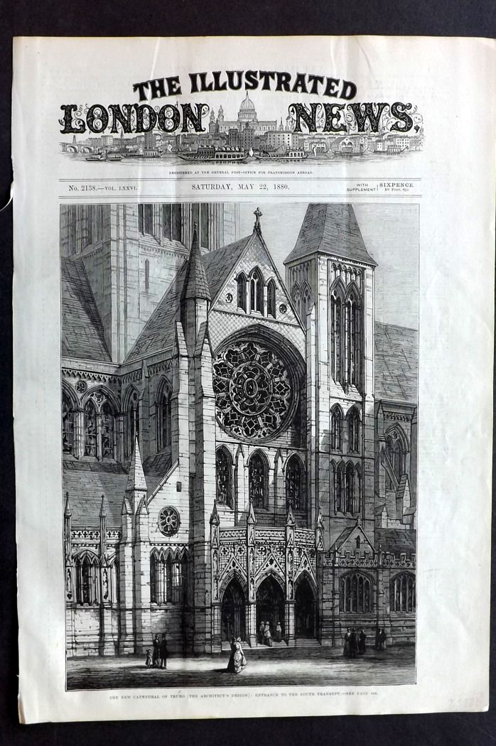 ILN 1880 Antique Print. New Cathedral of Truro (The Architects Design) UK