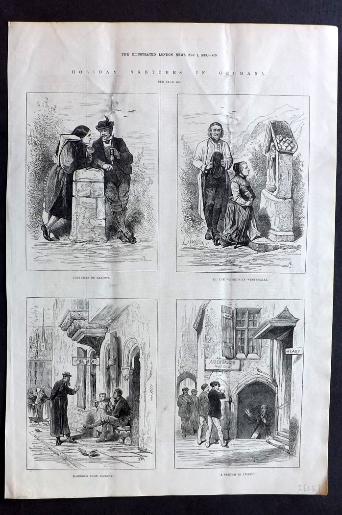 ILN 1880 Antique Print. Holiday Sketches in Germany. Saxony, Westphalia, Leipzig