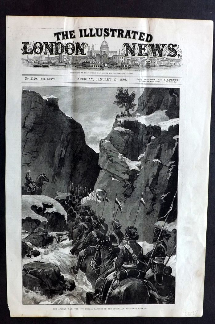 ILN 1880 Antique Print. Afghan War: The 10th Bengal Lanciers. Jugdulluk Pass#