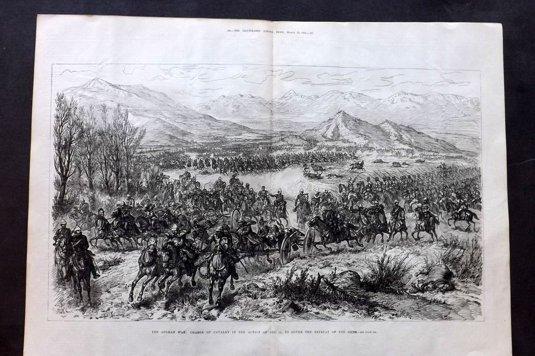 ILN 1880 LG Antique Print. Afghan War: Charge of Cavalry, Action of Dec. 11