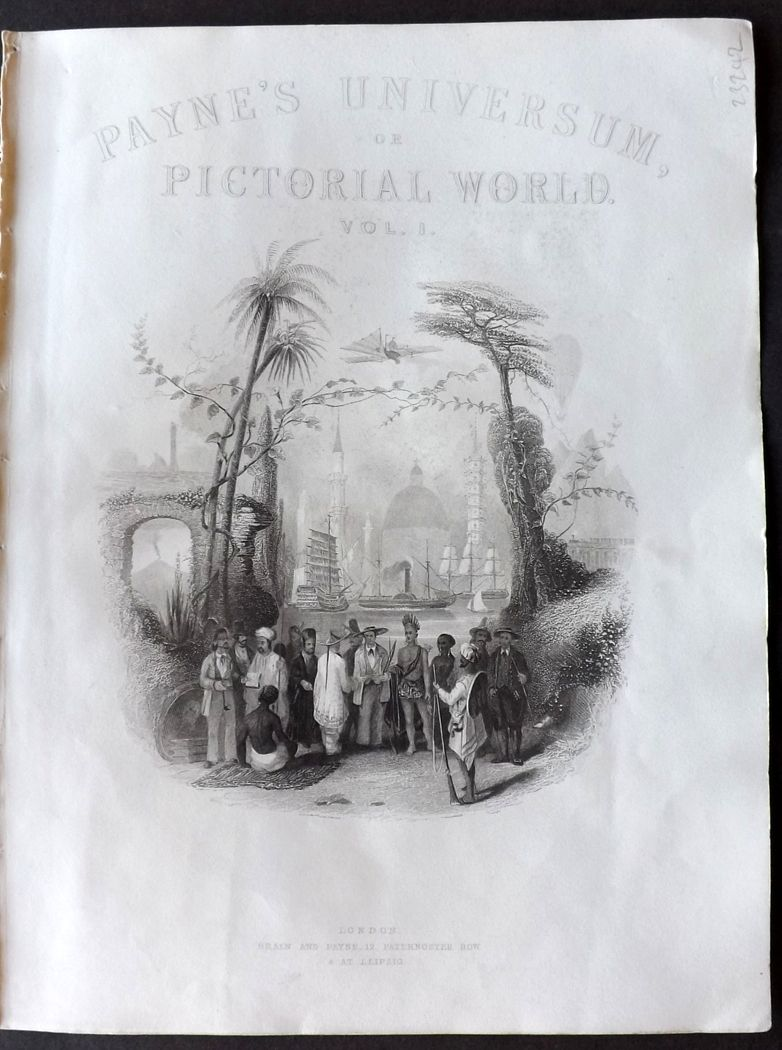 Payne 1847 Antique Print. Illustrated Title Page to Payne's Universum
