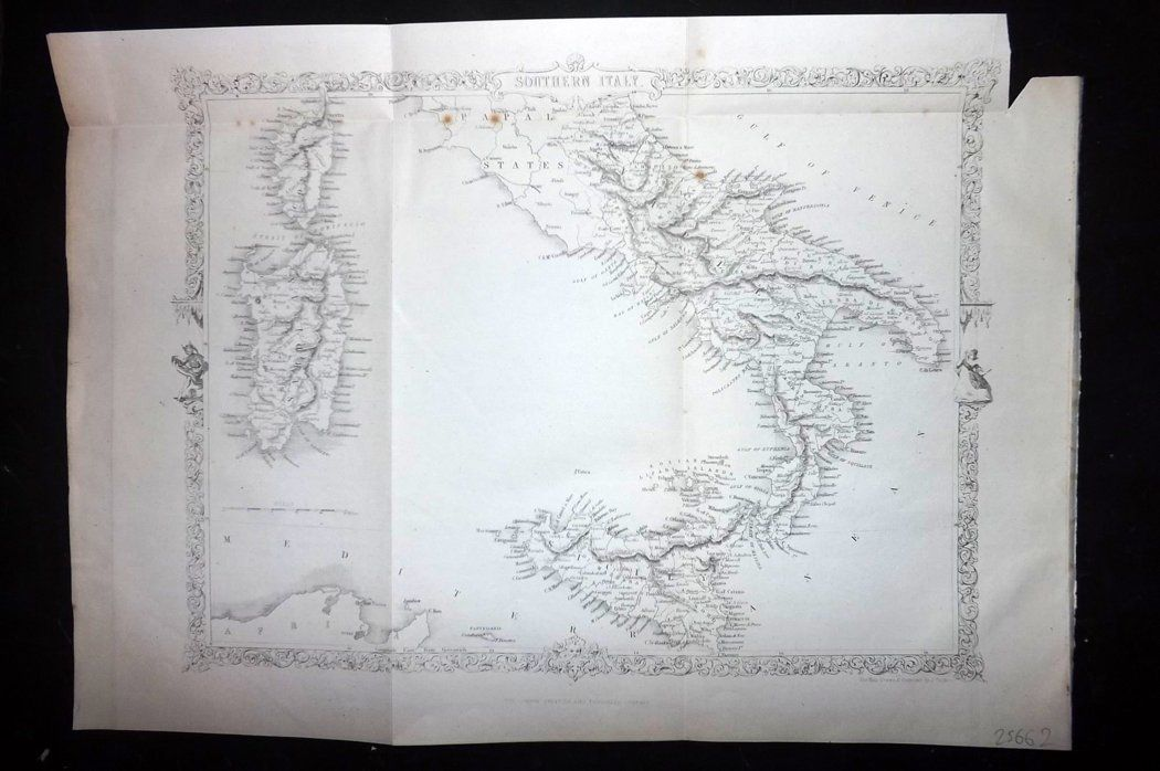 Rapkin 1860 Antique Map. Southern Italy