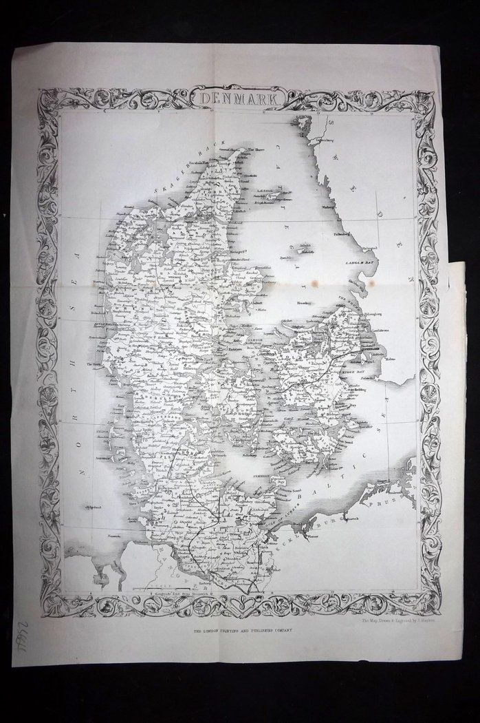 Rapkin 1860 Antique Map. Denmark