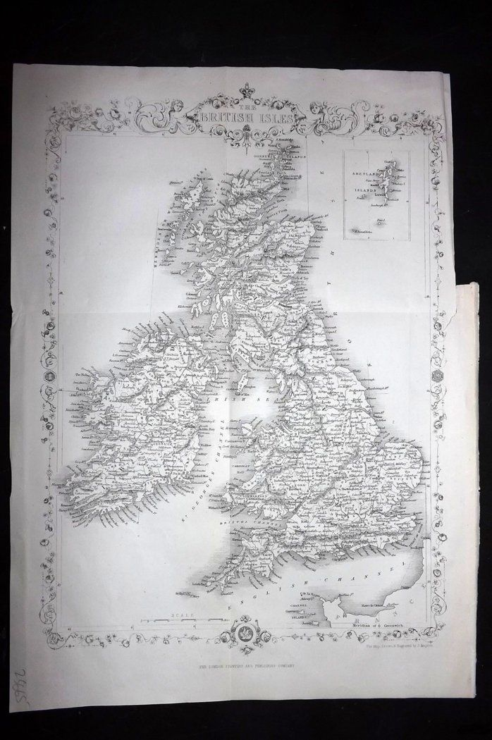 Rapkin 1860 Antique Map. British Isles. UK