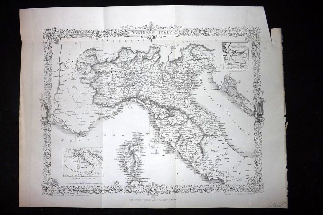 Rapkin 1860 Antique Map. Northern Italy