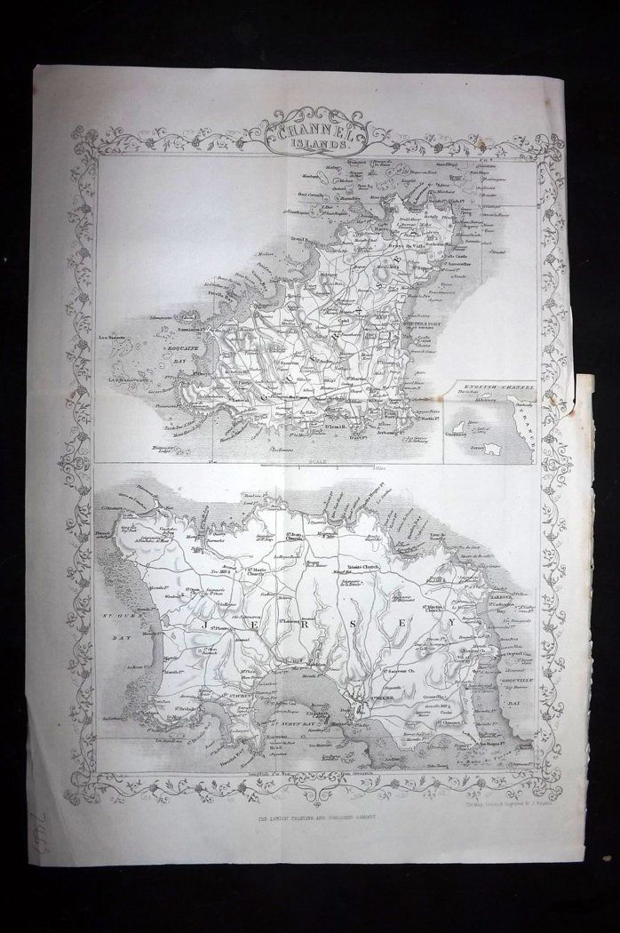 Rapkin 1860 Antique Map. Channel Islands. Jersey Guernsey