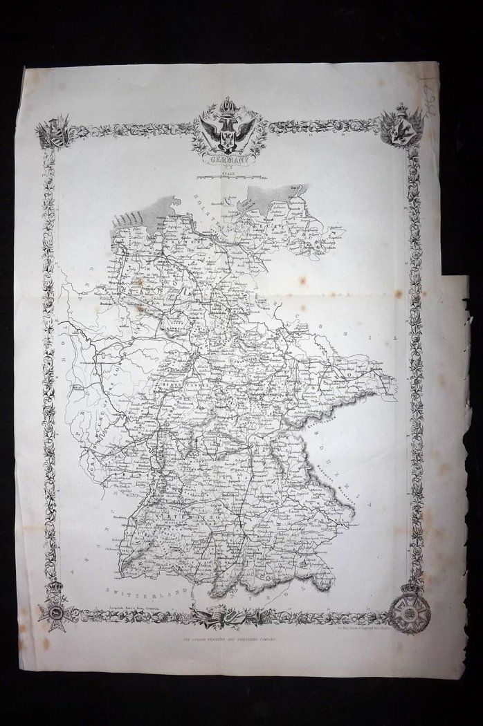 Rapkin 1860 Antique Map. Germany