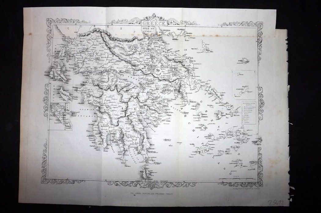 Rapkin 1860 Antique Map. Greece