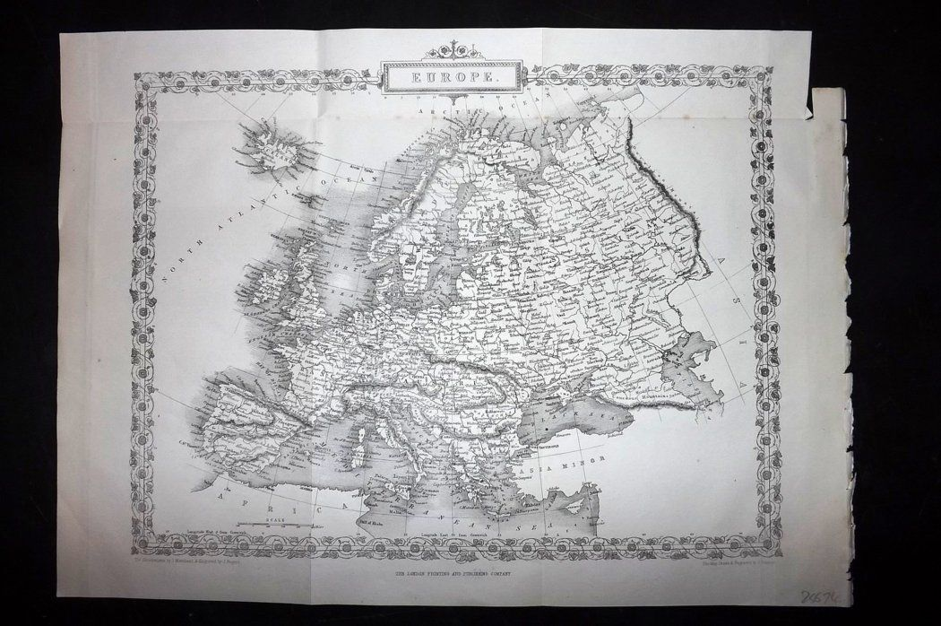 Rapkin 1860 Antique Map. Europe