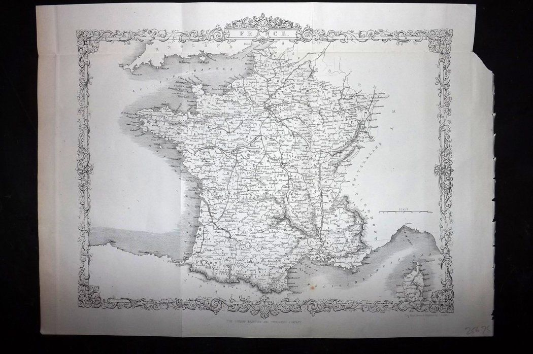 Rapkin 1860 Antique Map. France