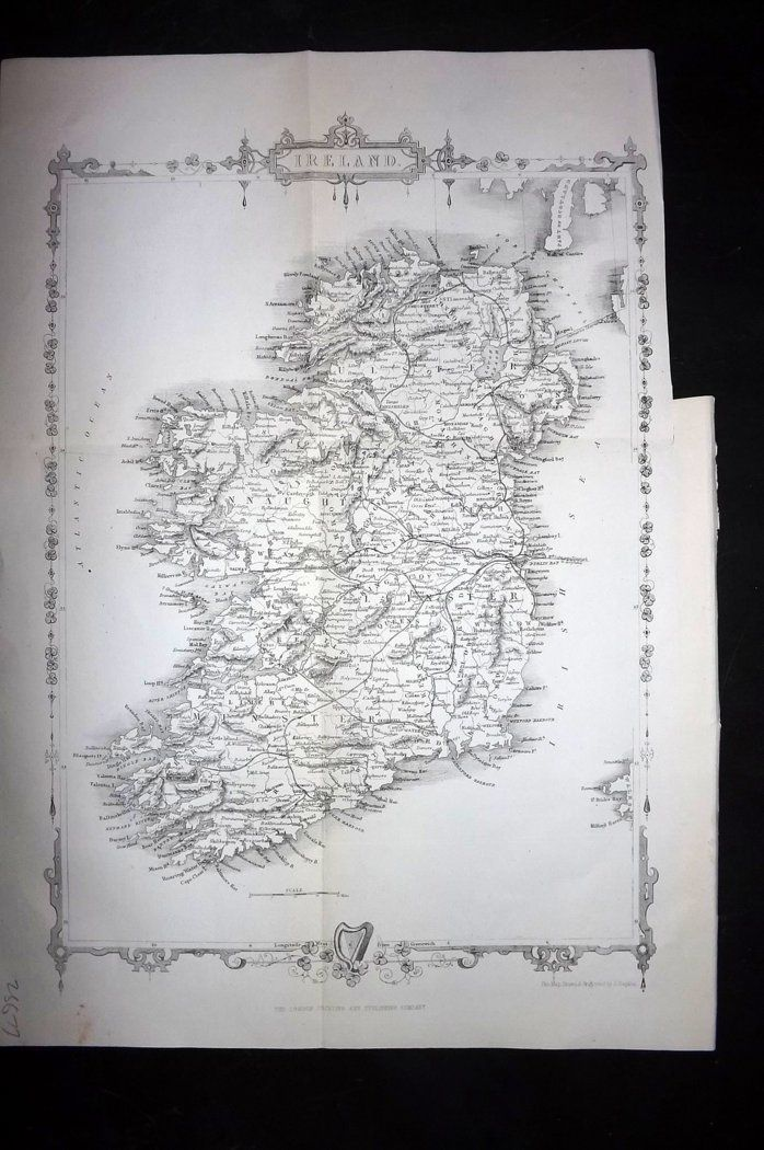 Rapkin 1860 Antique Map. Ireland