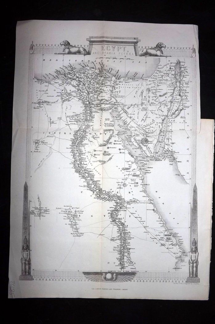 Rapkin 1860 Antique Map. Egypt and Arabia Petraea
