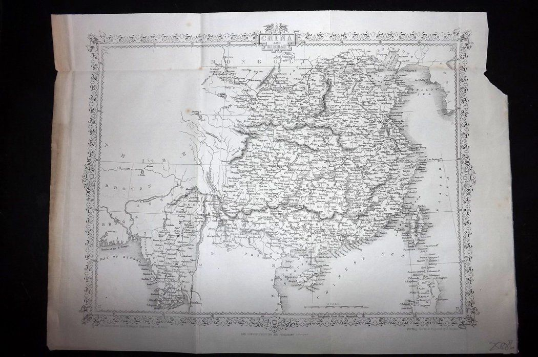 Rapkin 1860 Antique Map. China and Burma